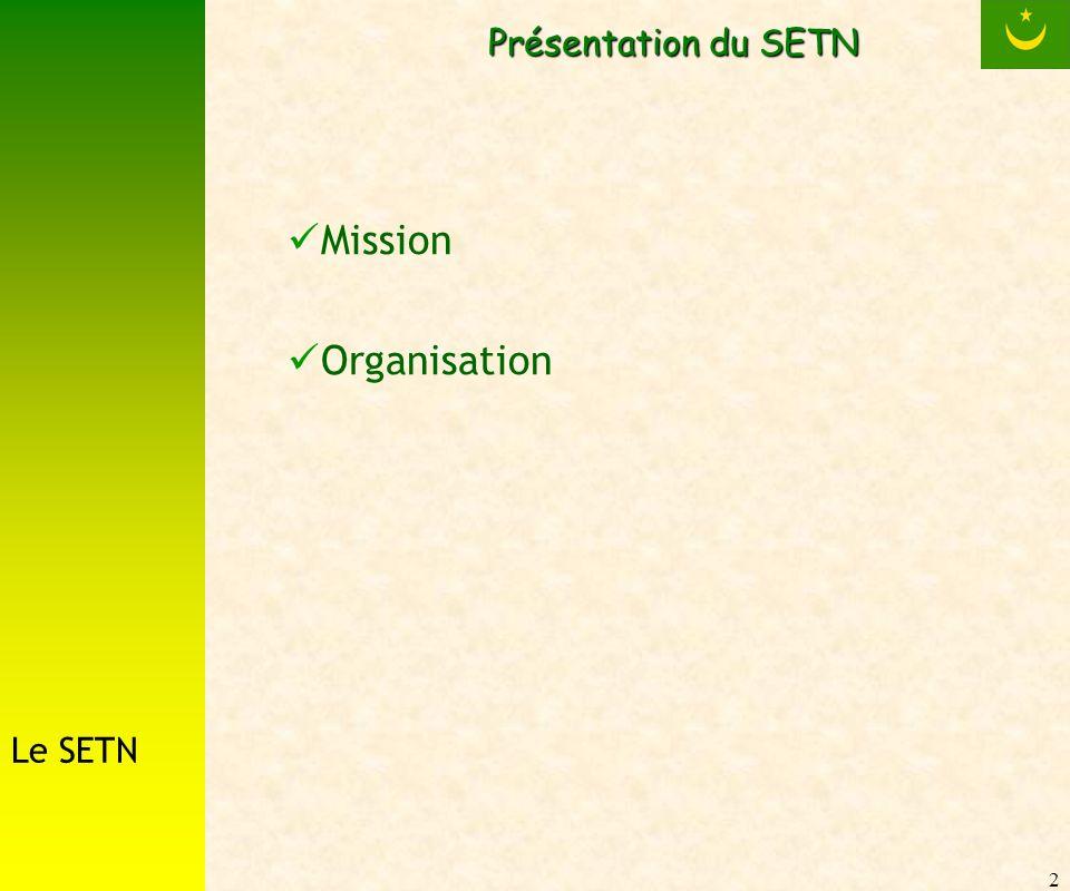 2 Présentation du SETN Mission Organisation Le SETN