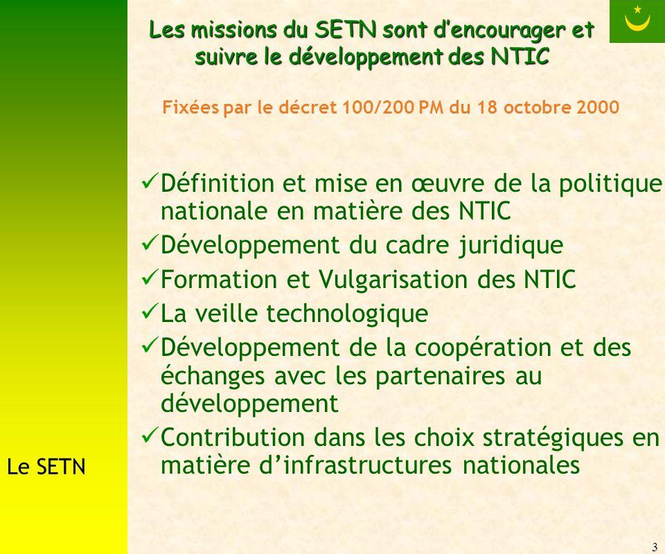 3 Les missions du SETN sont dencourager et suivre le développement des NTIC Définition et mise en œuvre de la politique nationale en matière des NTIC