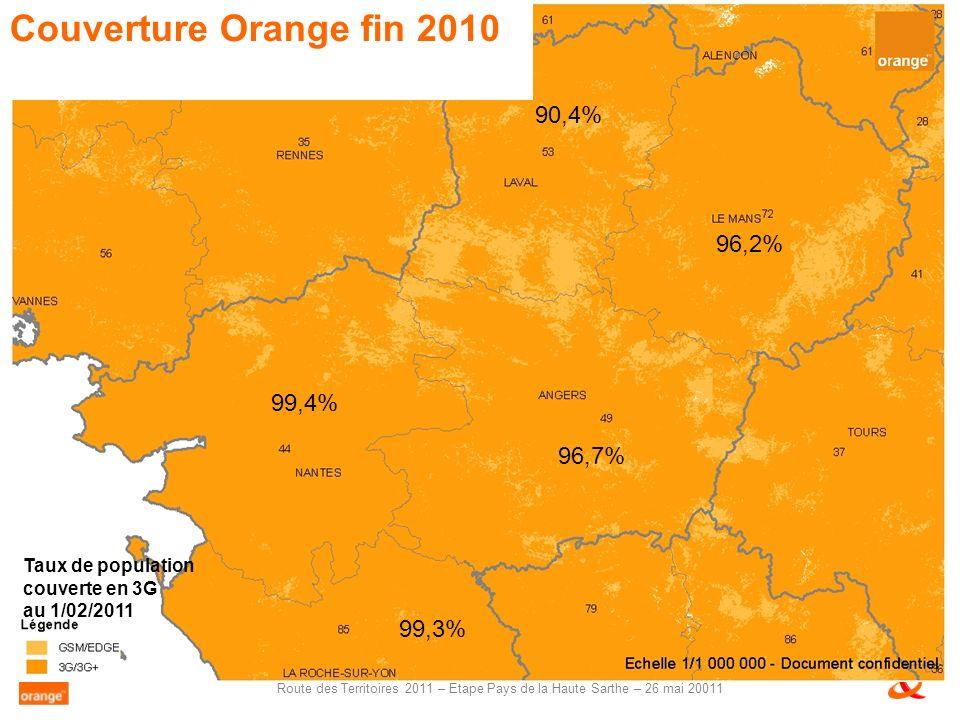 Route des Territoires 2011 – Etape Pays de la Haute Sarthe – 26 mai 20011 90,4% 99,4% 96,2% 96,7% Taux de population couverte en 3G au 1/02/2011 Couverture Orange fin 2010 99,3%
