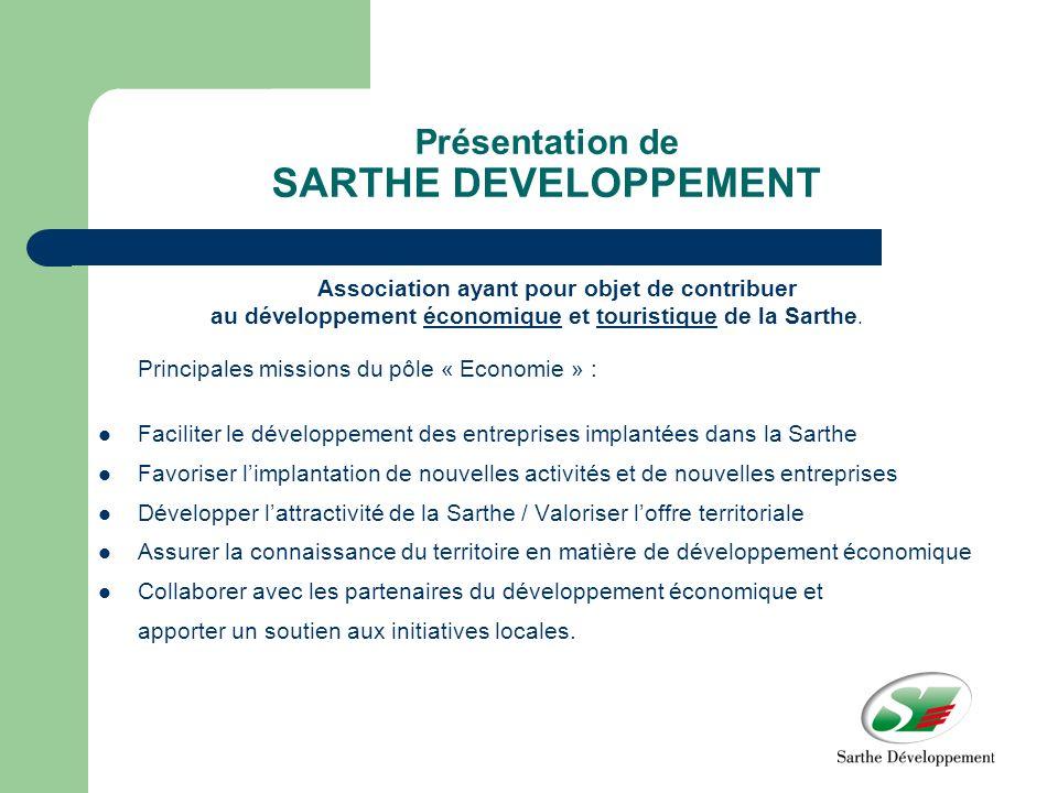 Présentation de SARTHE DEVELOPPEMENT Association ayant pour objet de contribuer au développement économique et touristique de la Sarthe.