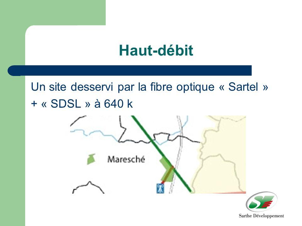 Haut-débit Un site desservi par la fibre optique « Sartel » + « SDSL » à 640 k