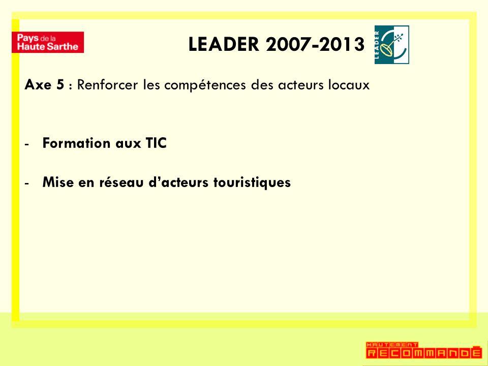LEADER 2007-2013 Axe 5 : Renforcer les compétences des acteurs locaux -Formation aux TIC -Mise en réseau dacteurs touristiques