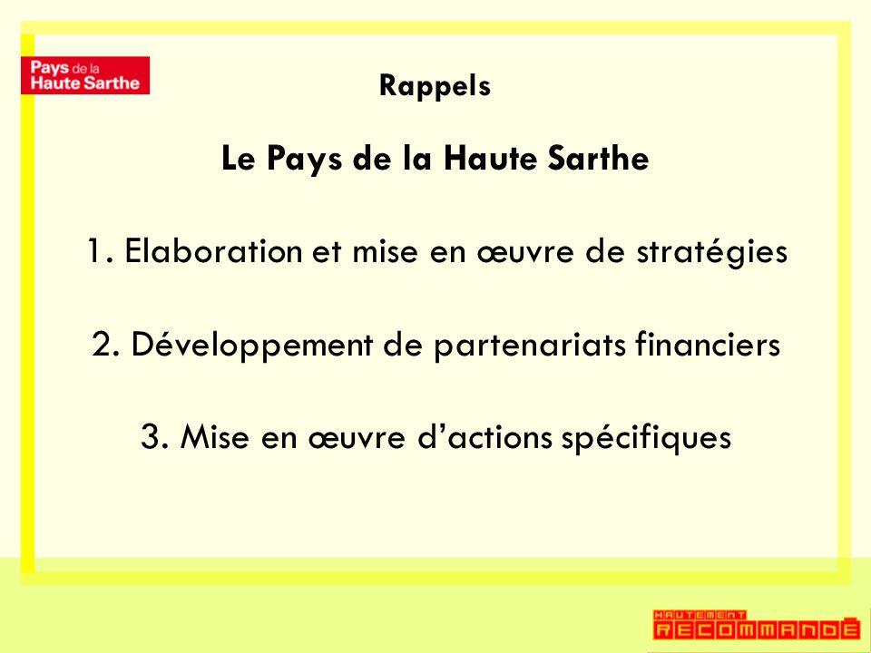 Rappels Le Pays de la Haute Sarthe 1. Elaboration et mise en œuvre de stratégies 2. Développement de partenariats financiers 3. Mise en œuvre dactions