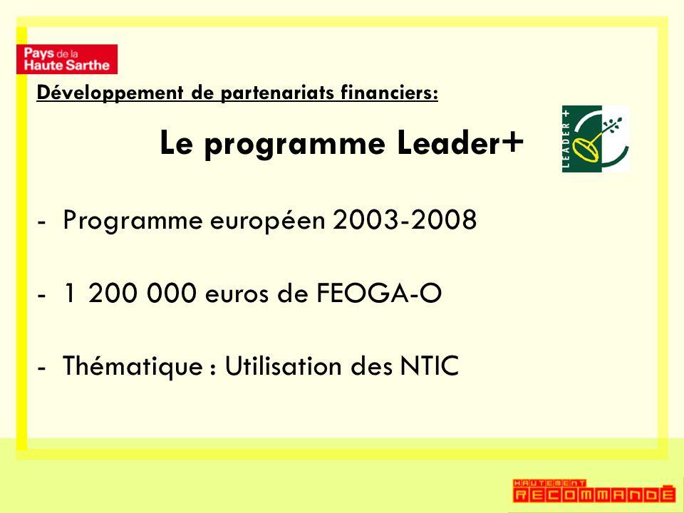 Développement de partenariats financiers: Le programme Leader+ -Programme européen 2003-2008 -1 200 000 euros de FEOGA-O -Thématique : Utilisation des