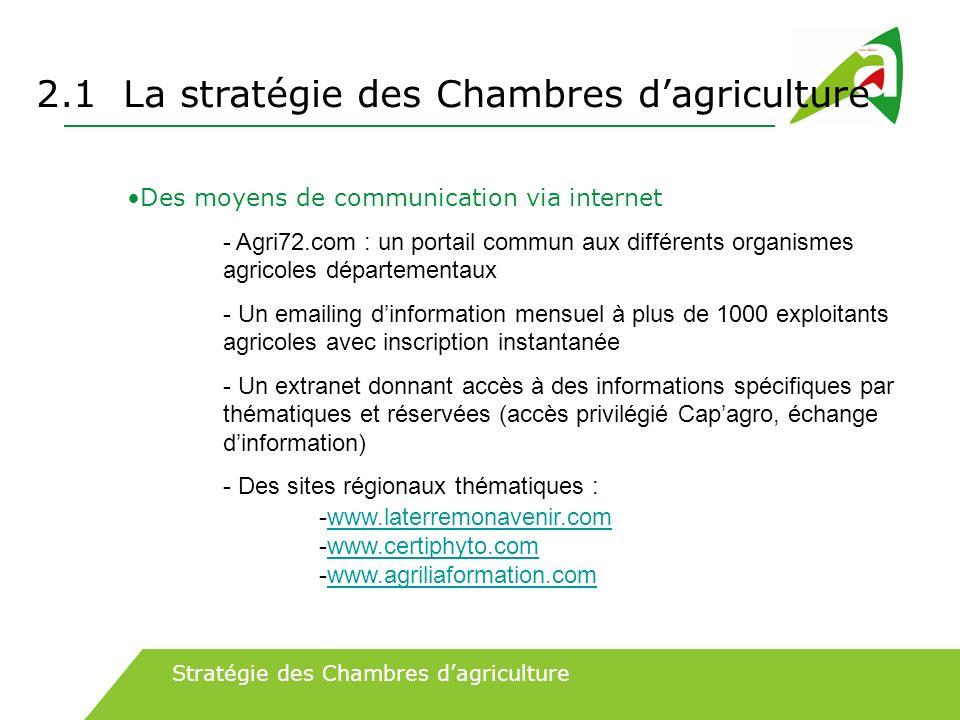 2.1 La stratégie des Chambres dagriculture Des moyens de communication via internet - Agri72.com : un portail commun aux différents organismes agricol