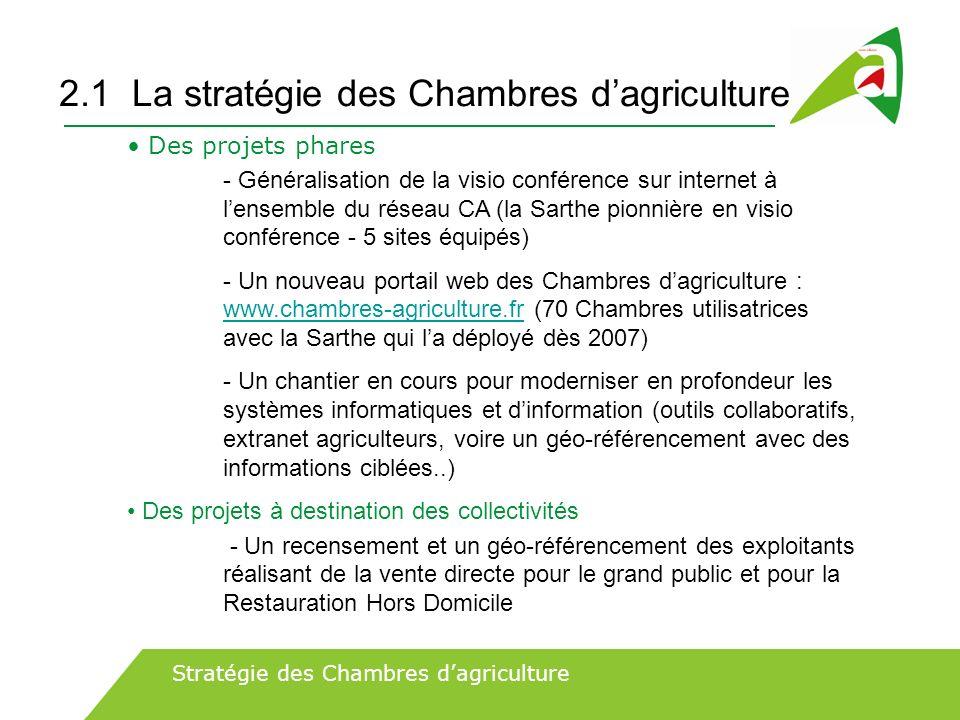 2.1 La stratégie des Chambres dagriculture Des projets phares - Généralisation de la visio conférence sur internet à lensemble du réseau CA (la Sarthe