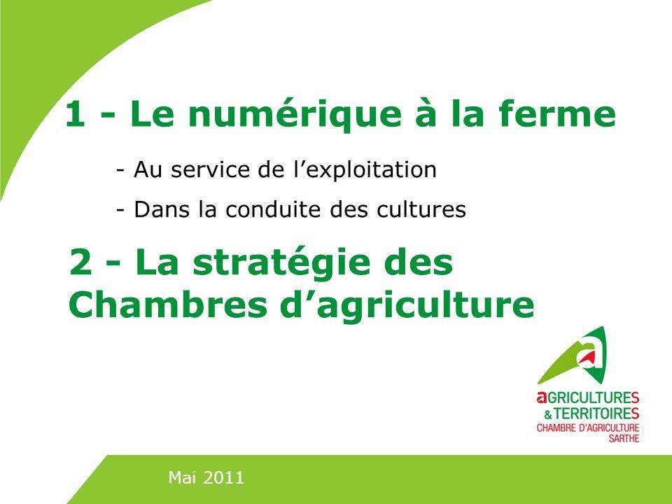 1 - Le numérique à la ferme - Au service de lexploitation - Dans la conduite des cultures Mai 2011 2 - La stratégie des Chambres dagriculture