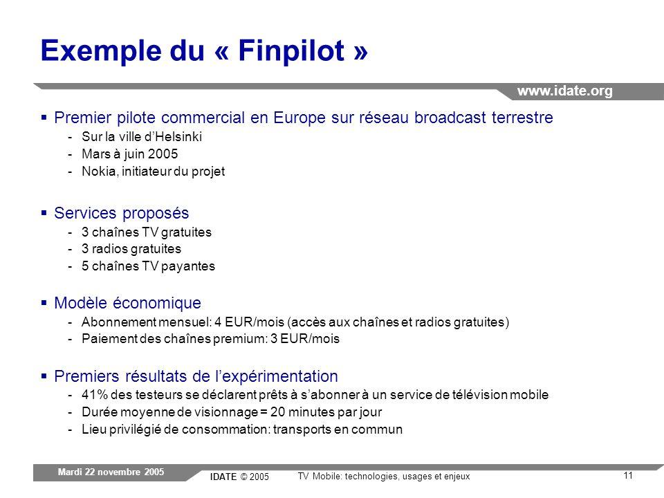 IDATE © 2005 www.idate.org 11 TV Mobile: technologies, usages et enjeux Mardi 22 novembre 2005 Exemple du « Finpilot » Premier pilote commercial en Eu