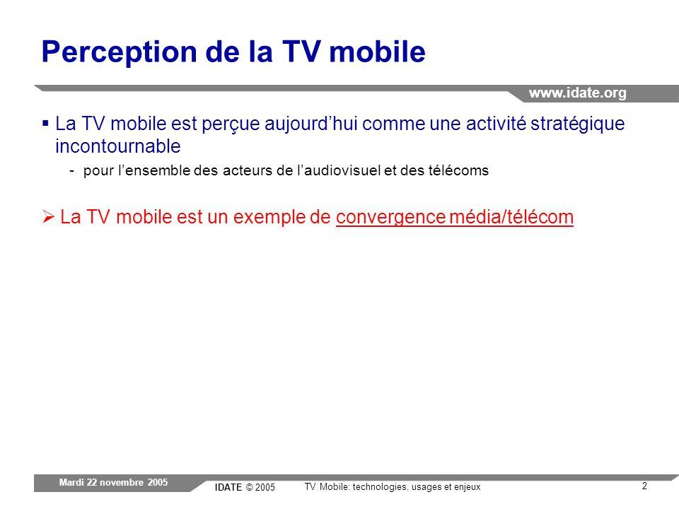 IDATE © 2005 www.idate.org 2 TV Mobile: technologies, usages et enjeux Mardi 22 novembre 2005 Perception de la TV mobile La TV mobile est perçue aujou
