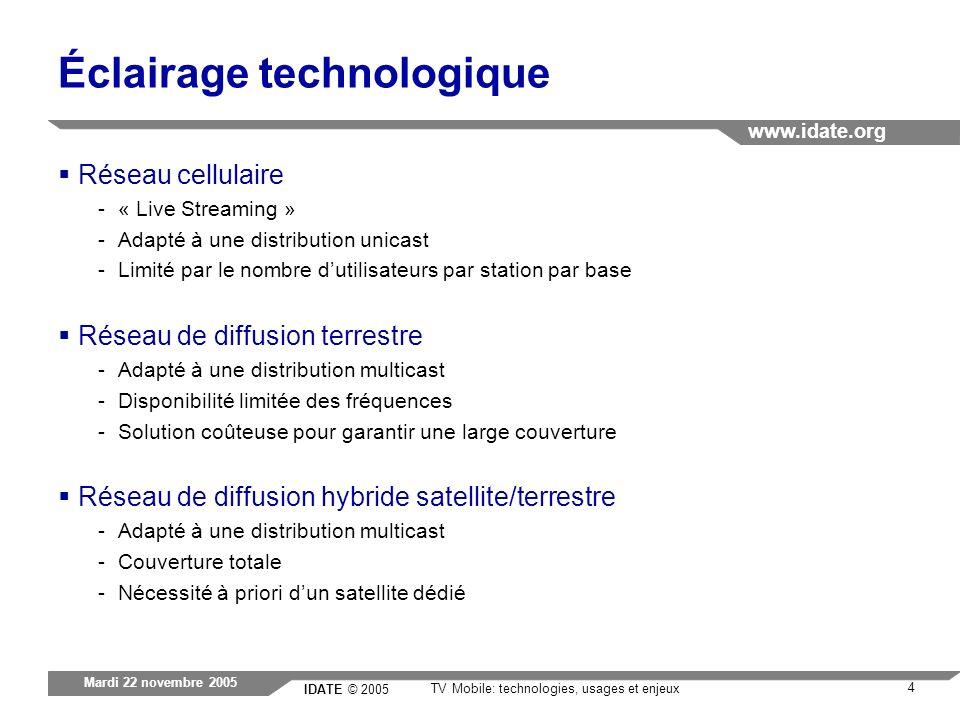 IDATE © 2005 www.idate.org 4 TV Mobile: technologies, usages et enjeux Mardi 22 novembre 2005 Éclairage technologique Réseau cellulaire -« Live Stream