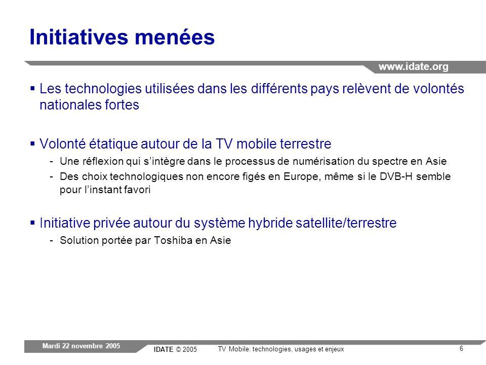 IDATE © 2005 www.idate.org 6 TV Mobile: technologies, usages et enjeux Mardi 22 novembre 2005 Initiatives menées Les technologies utilisées dans les d