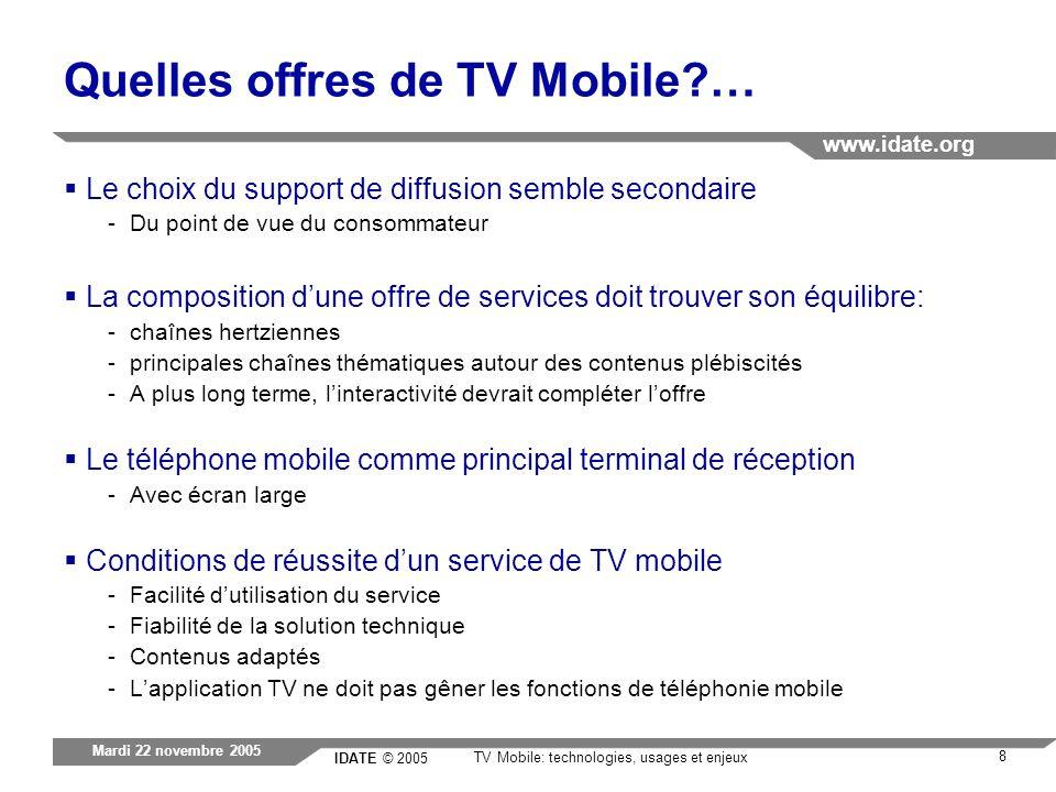 IDATE © 2005 www.idate.org 8 TV Mobile: technologies, usages et enjeux Mardi 22 novembre 2005 Quelles offres de TV Mobile?… Le choix du support de dif