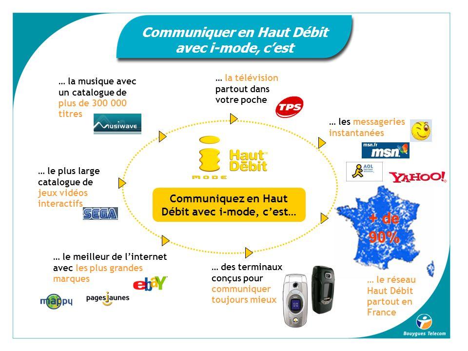 + de 90% … le réseau Haut Débit partout en France Communiquez en Haut Débit avec i-mode, cest… … la télévision partout dans votre poche … la musique avec un catalogue de plus de 300 000 titres … les messageries instantanées … le meilleur de linternet avec les plus grandes marques … le plus large catalogue de jeux vidéos interactifs … des terminaux conçus pour communiquer toujours mieux Communiquer en Haut Débit avec i-mode, cest