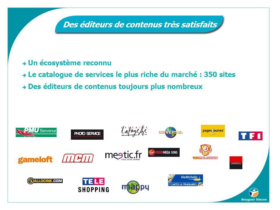 Un écosystème reconnu Le catalogue de services le plus riche du marché : 350 sites Des éditeurs de contenus toujours plus nombreux Des éditeurs de contenus très satisfaits