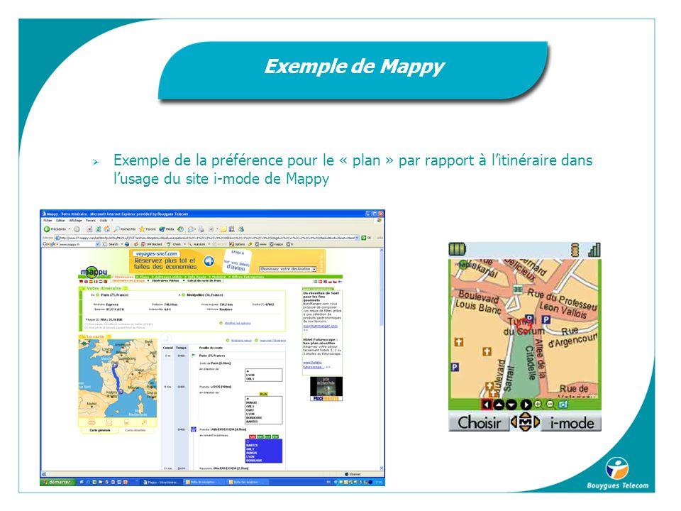 Exemple de la préférence pour le « plan » par rapport à litinéraire dans lusage du site i-mode de Mappy Exemple de Mappy