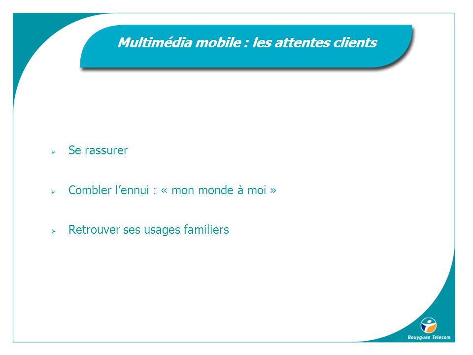 Se rassurer Combler lennui : « mon monde à moi » Retrouver ses usages familiers Multimédia mobile : les attentes clients