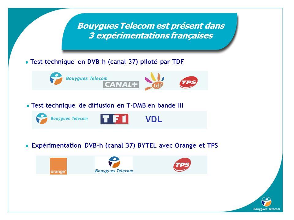VDL Expérimentation DVB-h (canal 37) BYTEL avec Orange et TPS Test technique de diffusion en T-DMB en bande III Test technique en DVB-h (canal 37) piloté par TDF Bouygues Telecom est présent dans 3 expérimentations françaises