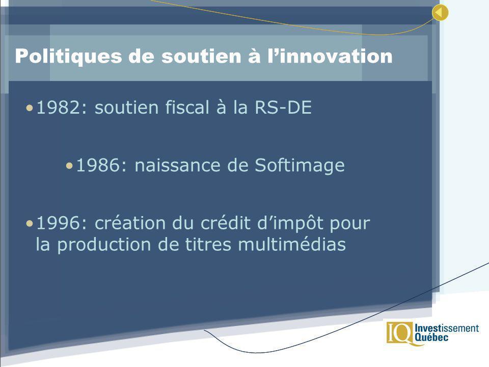 Politiques de soutien à linnovation 1982: soutien fiscal à la RS-DE 1996: création du crédit dimpôt pour la production de titres multimédias 1986: naissance de Softimage