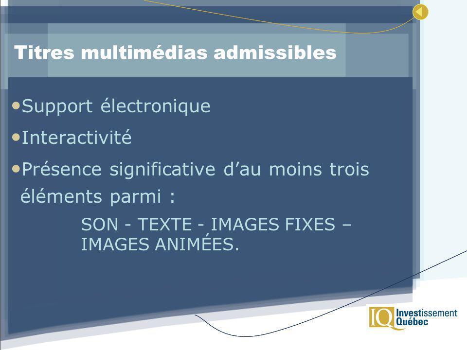 Titres multimédias admissibles Support électronique Interactivité Présence significative dau moins trois éléments parmi : SON - TEXTE - IMAGES FIXES – IMAGES ANIMÉES.