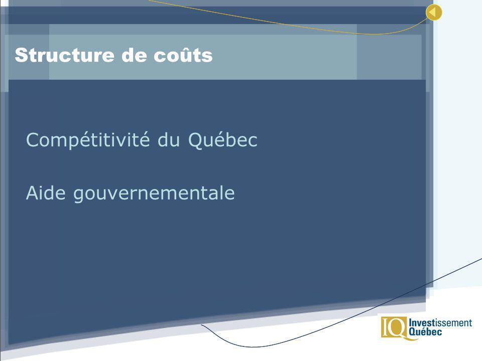 Structure de coûts Compétitivité du Québec Aide gouvernementale