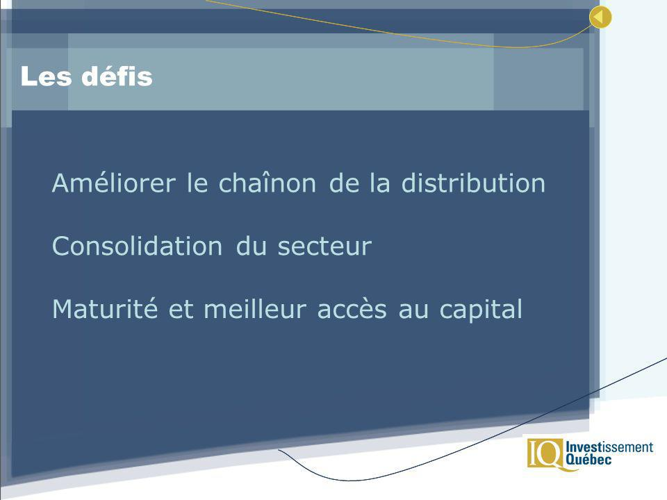 Les défis Améliorer le chaînon de la distribution Consolidation du secteur Maturité et meilleur accès au capital