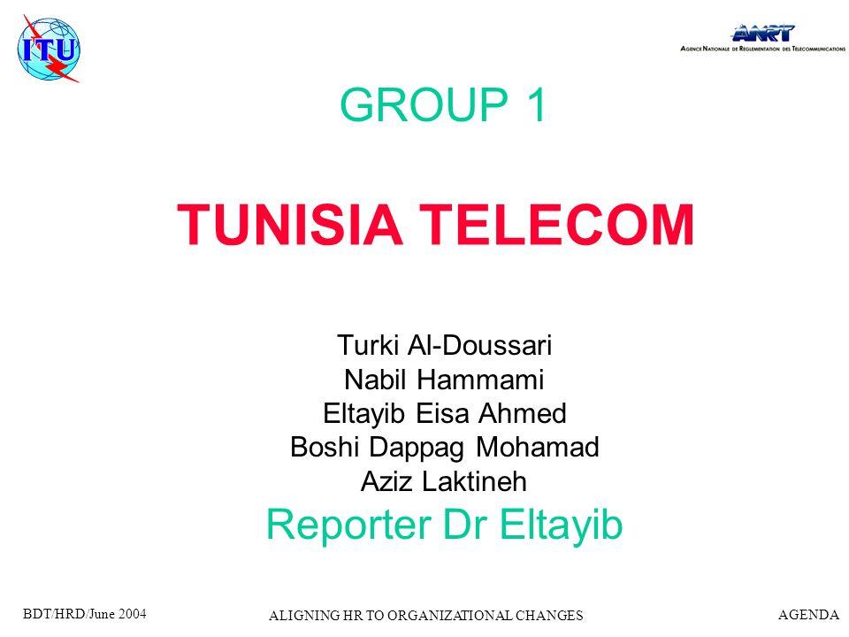 BDT/HRD/June 2004 AGENDA ALIGNING HR TO ORGANIZATIONAL CHANGES TUNISIA TELECOM GROUP 1 Turki Al-Doussari Nabil Hammami Eltayib Eisa Ahmed Boshi Dappag