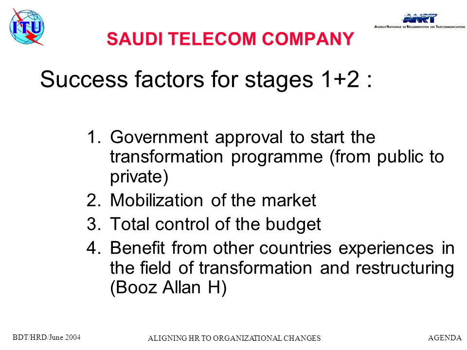 BDT/HRD/June 2004 AGENDA ALIGNING HR TO ORGANIZATIONAL CHANGES Success factors for stages 1+2 (contd) 5.The improvement of the financial status of the STC employees 6.None existence of competitors 7.The availability of infrastructure SAUDI TELECOM COMPANY