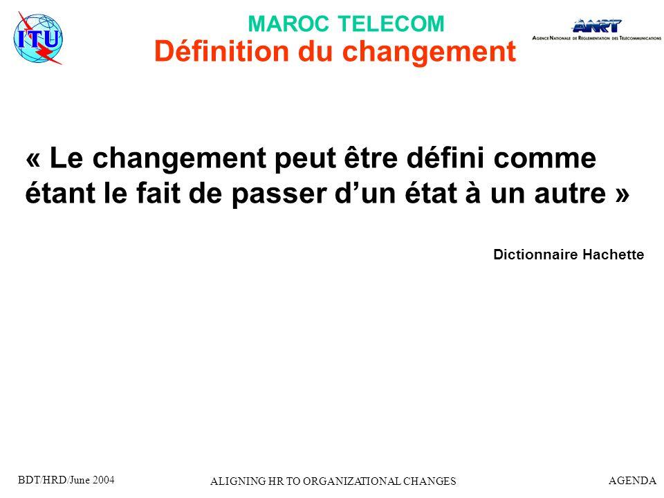 BDT/HRD/June 2004 AGENDA ALIGNING HR TO ORGANIZATIONAL CHANGES Définition du changement « Le changement peut être défini comme étant le fait de passer
