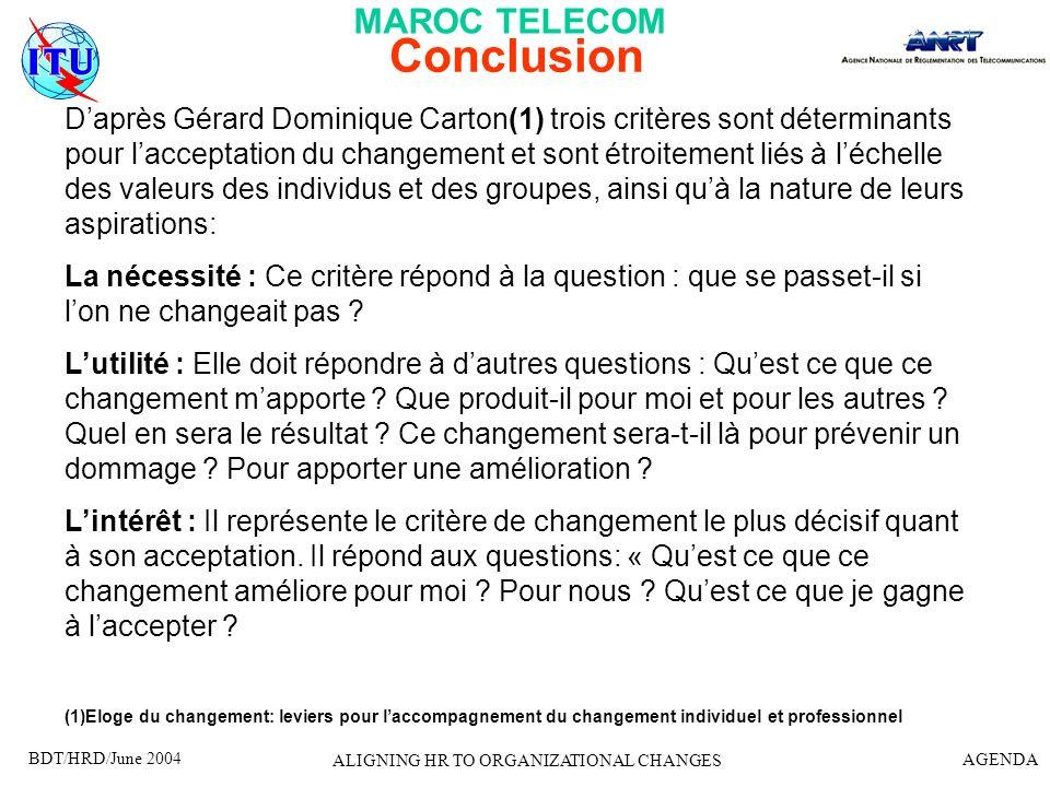 BDT/HRD/June 2004 AGENDA ALIGNING HR TO ORGANIZATIONAL CHANGES Conclusion Daprès Gérard Dominique Carton(1) trois critères sont déterminants pour lacc