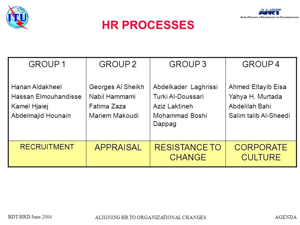 BDT/HRD/June 2004 AGENDA ALIGNING HR TO ORGANIZATIONAL CHANGES HR PROCESSES GROUP 1 Hanan Aldakheel Hassan Elmouhandisse Kamel Hjaiej Abdelmajid Houna