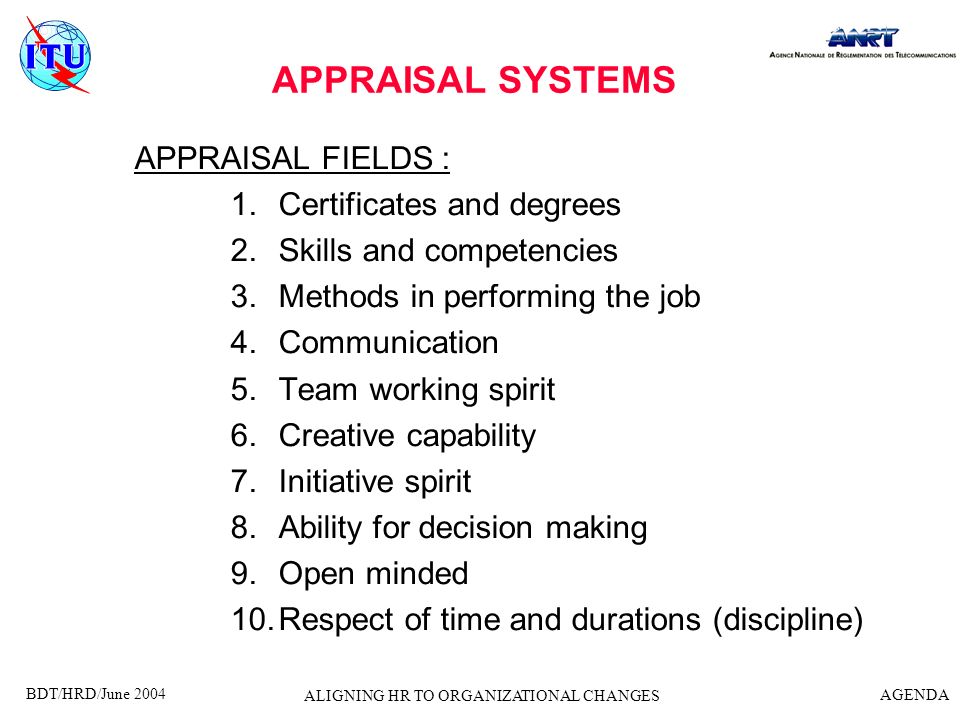 BDT/HRD/June 2004 AGENDA ALIGNING HR TO ORGANIZATIONAL CHANGES APPRAISAL SYSTEMS EVALUATION TOOLS : 1.Carreer evolution 2.Bonus appraisal 3.Grading system Seniority Age Subjective relationship Discipline (sanctions for absenteism such as non justified sick leaves)