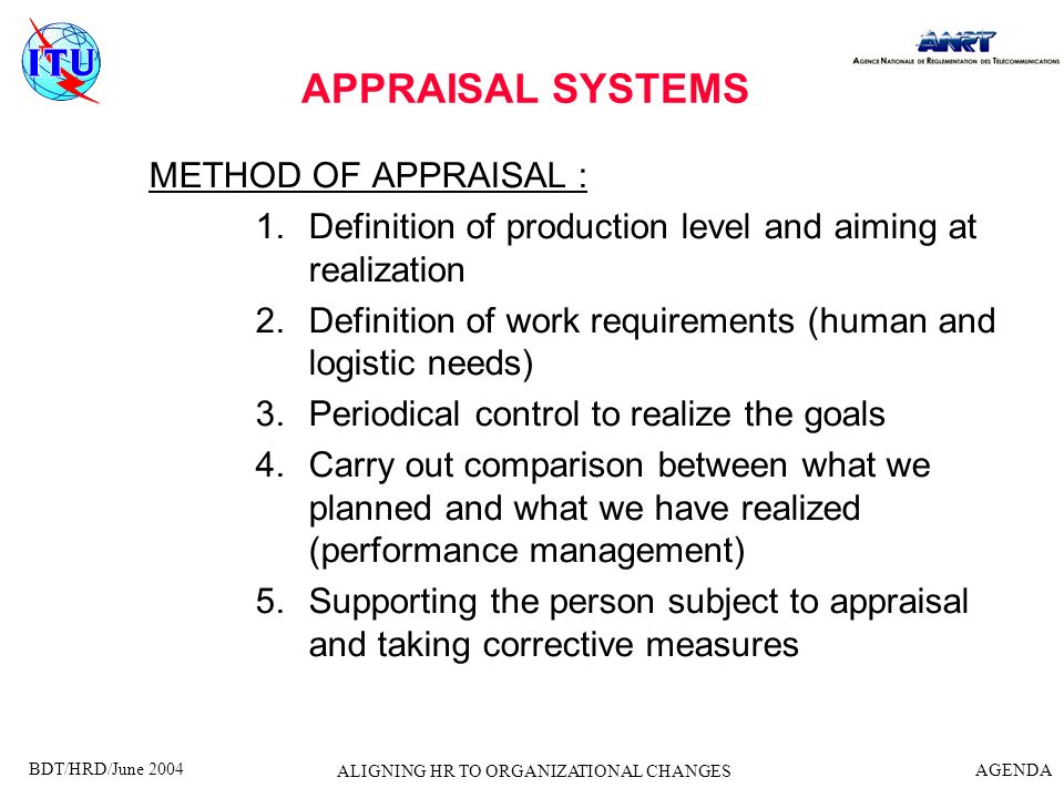 BDT/HRD/June 2004 AGENDA ALIGNING HR TO ORGANIZATIONAL CHANGES APPRAISAL SYSTEMS RESULTS OF APPRAISAL : The person fits to the post : 1.100% 2.Less 3.More Recommendations : 1.Keep the person in the post 2.Training 3.Give the person more responsabilities