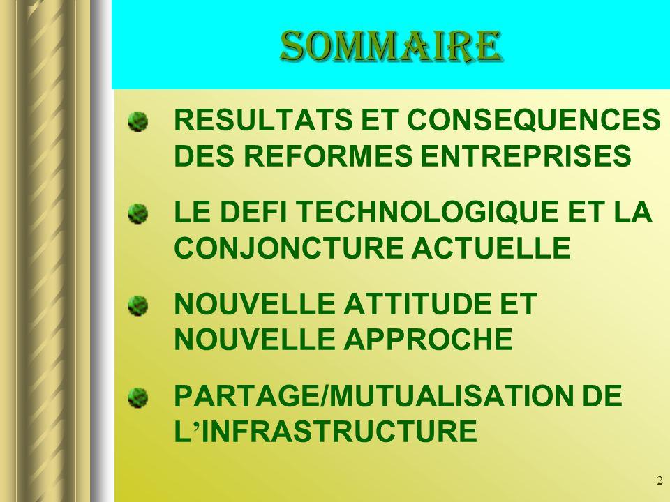 2 RESULTATS ET CONSEQUENCES DES REFORMES ENTREPRISES LE DEFI TECHNOLOGIQUE ET LA CONJONCTURE ACTUELLE NOUVELLE ATTITUDE ET NOUVELLE APPROCHE PARTAGE/MUTUALISATION DE L INFRASTRUCTURE sommaire