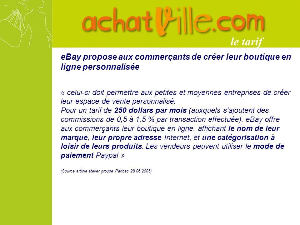 eBay propose aux commerçants de créer leur boutique en ligne personnalisée « celui-ci doit permettre aux petites et moyennes entreprises de créer leur espace de vente personnalisé.