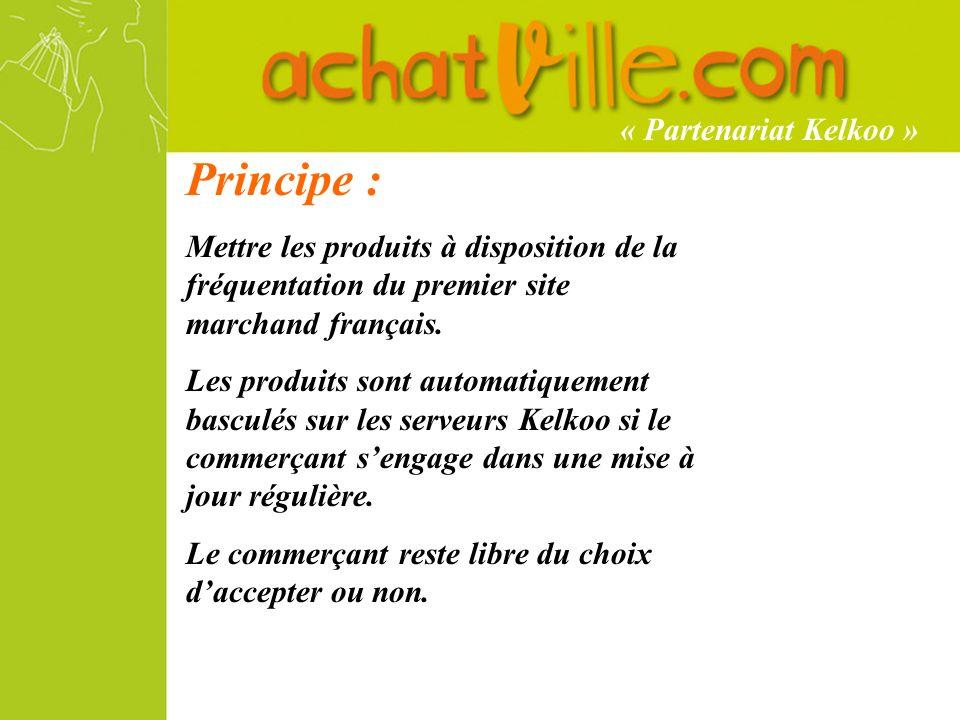 Principe : Mettre les produits à disposition de la fréquentation du premier site marchand français.