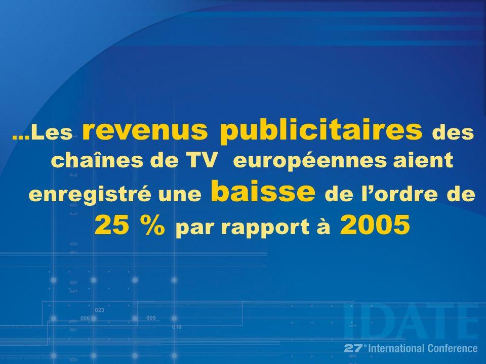 … Les revenus publicitaires des chaînes de TV européennes aient enregistré une baisse de lordre de 25 % par rapport à 2005
