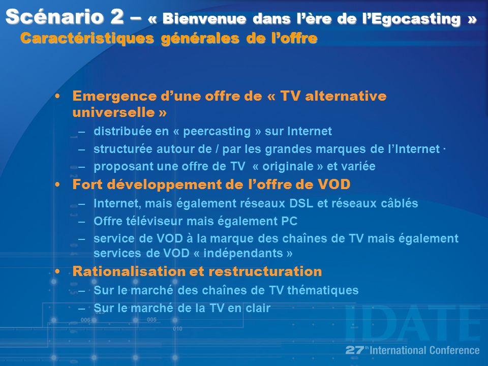 Emergence dune offre de « TV alternative universelle » –distribuée en « peercasting » sur Internet –structurée autour de / par les grandes marques de lInternet · –proposant une offre de TV « originale » et variée Fort développement de loffre de VOD –Internet, mais également réseaux DSL et réseaux câblés –Offre téléviseur mais également PC –service de VOD à la marque des chaînes de TV mais également services de VOD « indépendants » Rationalisation et restructuration –Sur le marché des chaînes de TV thématiques –Sur le marché de la TV en clair Scénario 2 – « Bienvenue dans lère de lEgocasting » Caractéristiques générales de loffre