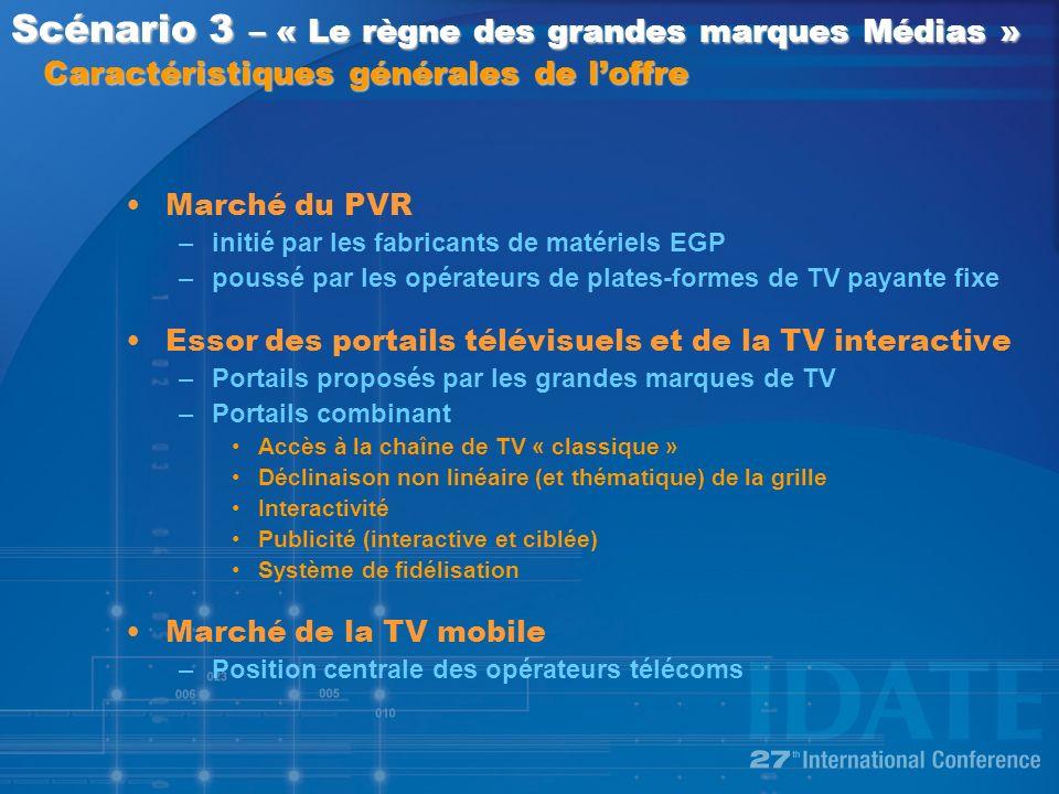 Marché du PVR –initié par les fabricants de matériels EGP –poussé par les opérateurs de plates-formes de TV payante fixe Essor des portails télévisuels et de la TV interactive –Portails proposés par les grandes marques de TV –Portails combinant Accès à la chaîne de TV « classique » Déclinaison non linéaire (et thématique) de la grille Interactivité Publicité (interactive et ciblée) Système de fidélisation Marché de la TV mobile –Position centrale des opérateurs télécoms Scénario 3 – « Le règne des grandes marques Médias » Caractéristiques générales de loffre