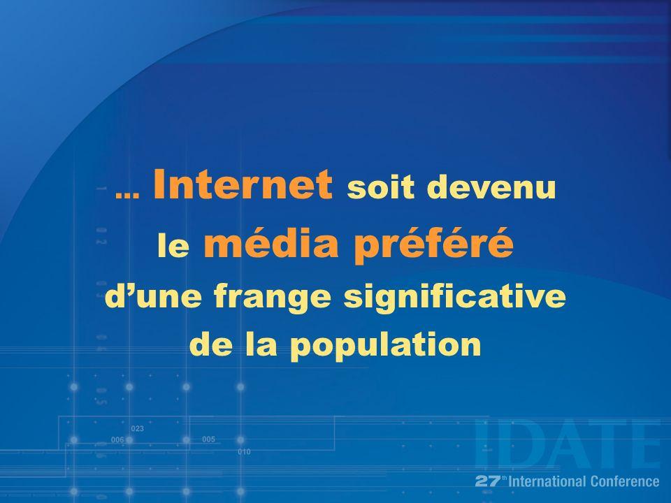 … Internet soit devenu le média préféré dune frange significative de la population