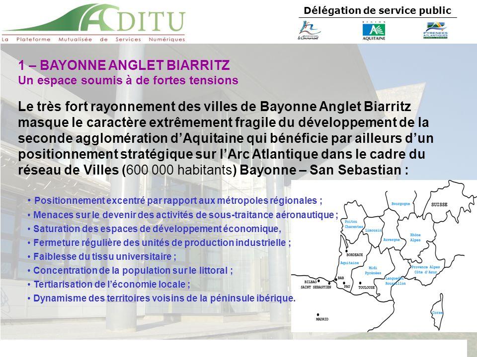 Délégation de service public 1 – BAYONNE ANGLET BIARRITZ Un espace soumis à de fortes tensions Le très fort rayonnement des villes de Bayonne Anglet B