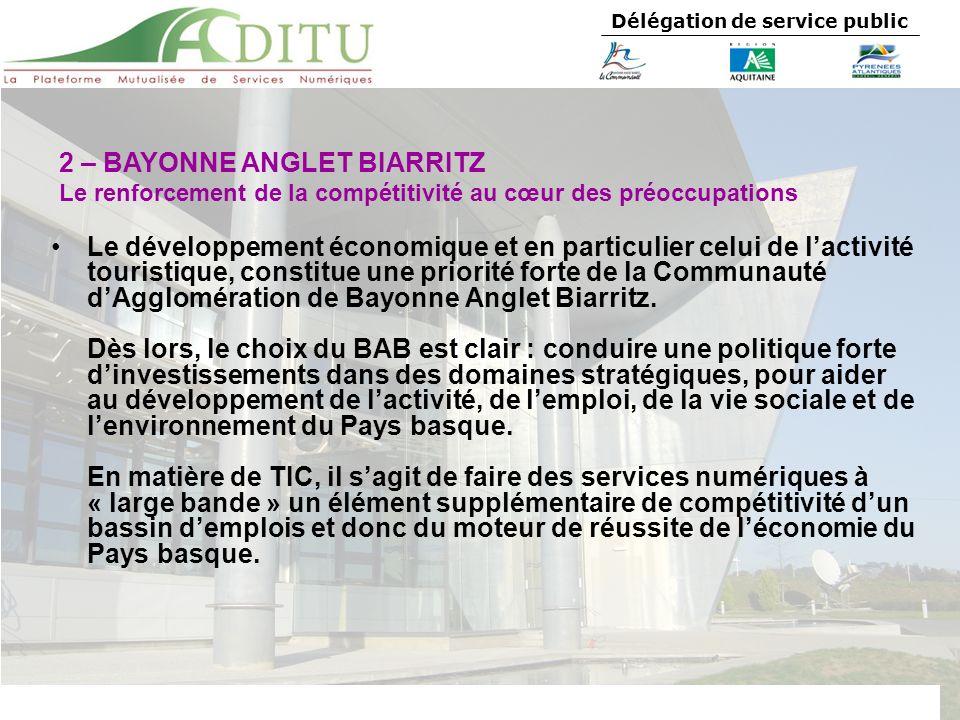 Délégation de service public Le développement économique et en particulier celui de lactivité touristique, constitue une priorité forte de la Communau
