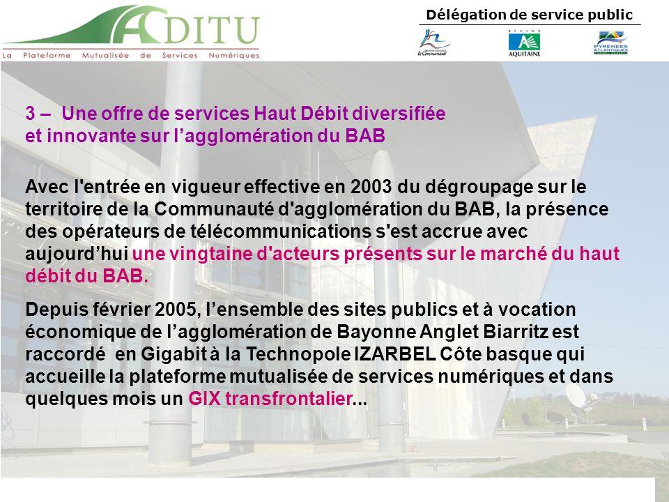 Délégation de service public 3 – Une offre de services Haut Débit diversifiée et innovante sur lagglomération du BAB Avec l'entrée en vigueur effectiv