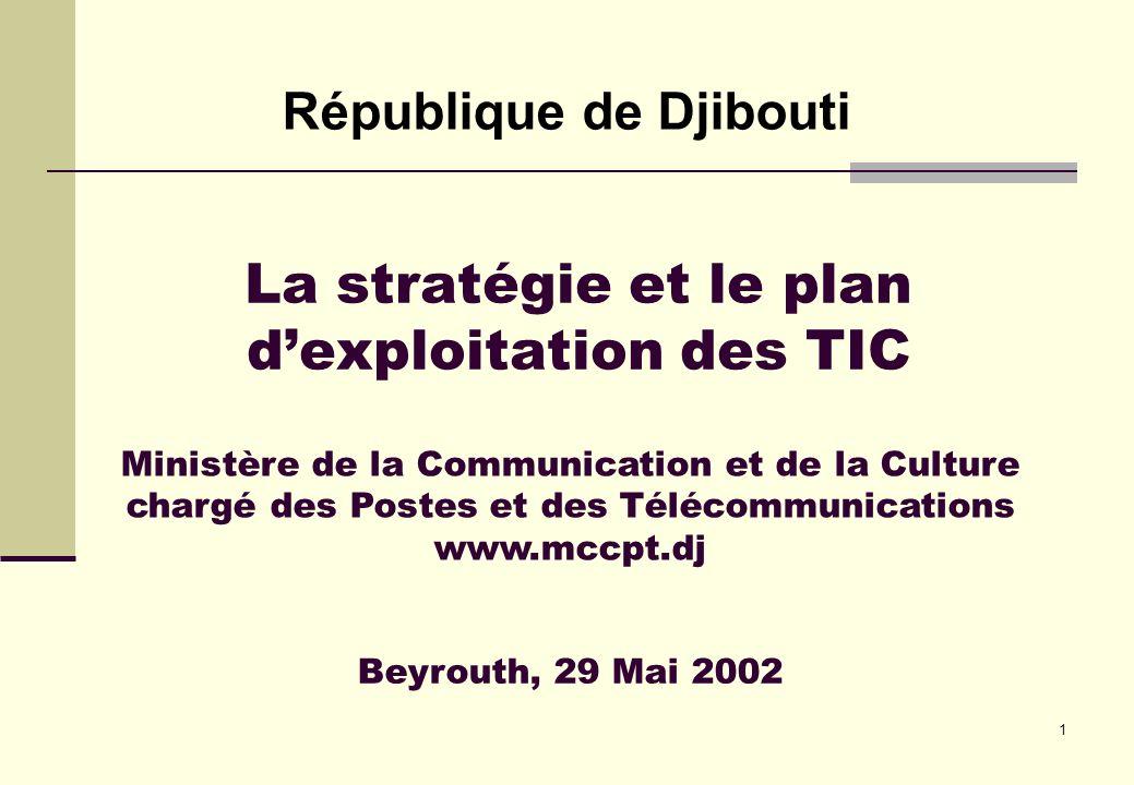 1 La stratégie et le plan dexploitation des TIC République de Djibouti Beyrouth, 29 Mai 2002 Ministère de la Communication et de la Culture chargé des