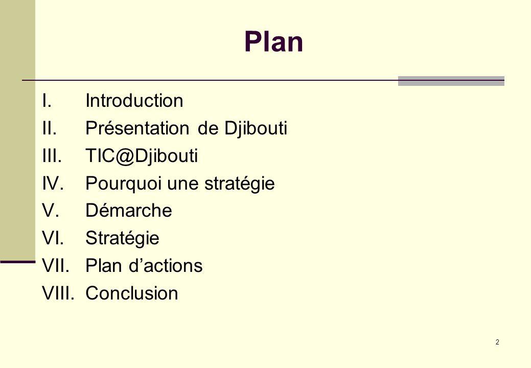 2 Plan I.Introduction II.Présentation de Djibouti III.TIC@Djibouti IV.Pourquoi une stratégie V.Démarche VI.Stratégie VII.Plan dactions VIII.Conclusion