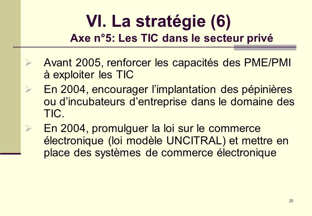 26 VI. La stratégie (6) Axe n°5: Les TIC dans le secteur privé Avant 2005, renforcer les capacités des PME/PMI à exploiter les TIC En 2004, encourager