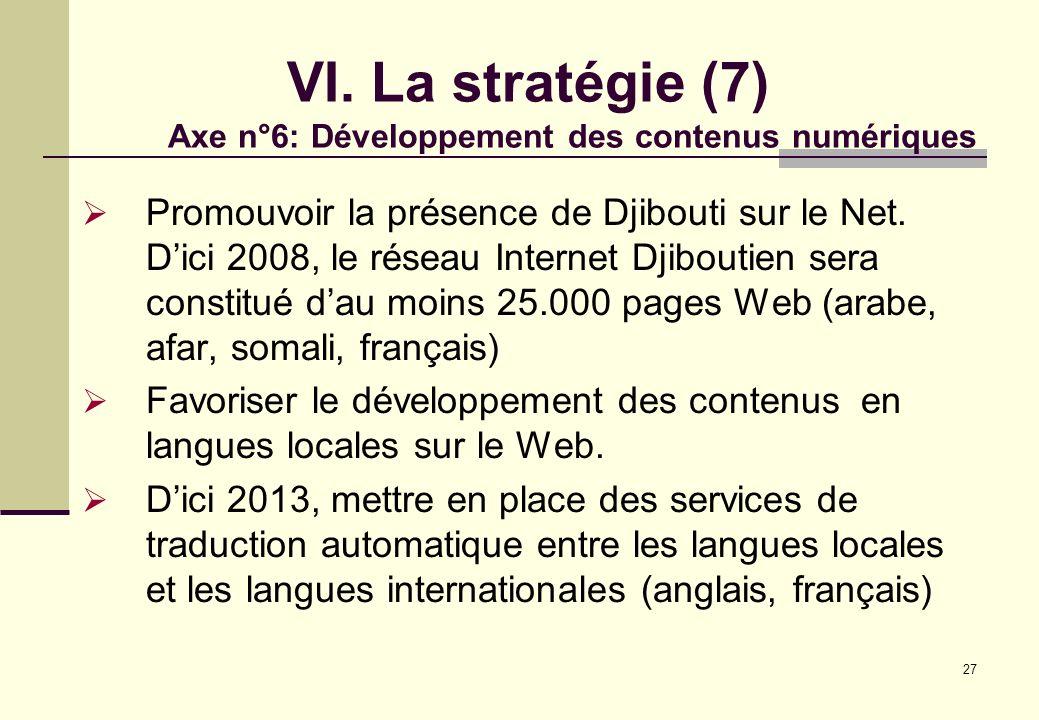 27 VI. La stratégie (7) Axe n°6: Développement des contenus numériques Promouvoir la présence de Djibouti sur le Net. Dici 2008, le réseau Internet Dj