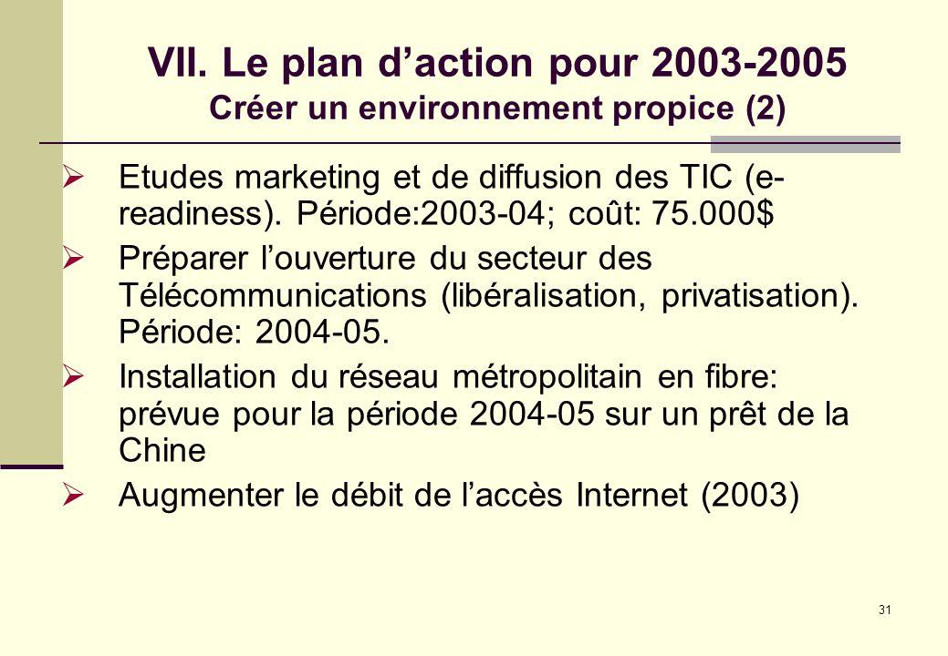 31 Etudes marketing et de diffusion des TIC (e- readiness). Période:2003-04; coût: 75.000$ Préparer louverture du secteur des Télécommunications (libé