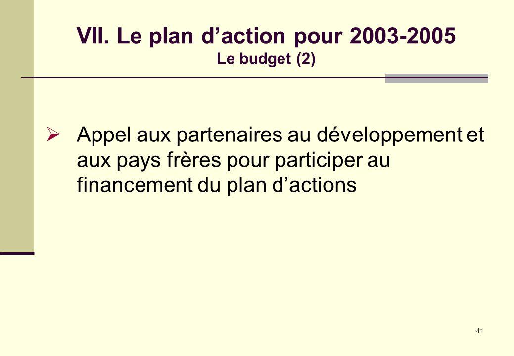 41 VII. Le plan daction pour 2003-2005 Le budget (2) Appel aux partenaires au développement et aux pays frères pour participer au financement du plan