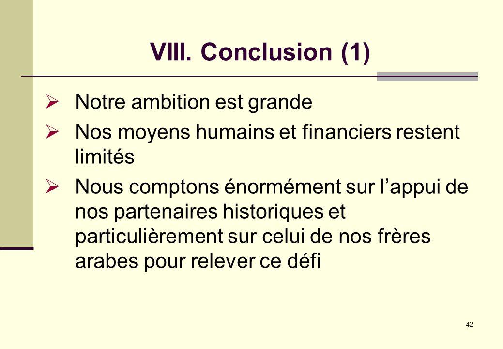 42 VIII. Conclusion (1) Notre ambition est grande Nos moyens humains et financiers restent limités Nous comptons énormément sur lappui de nos partenai