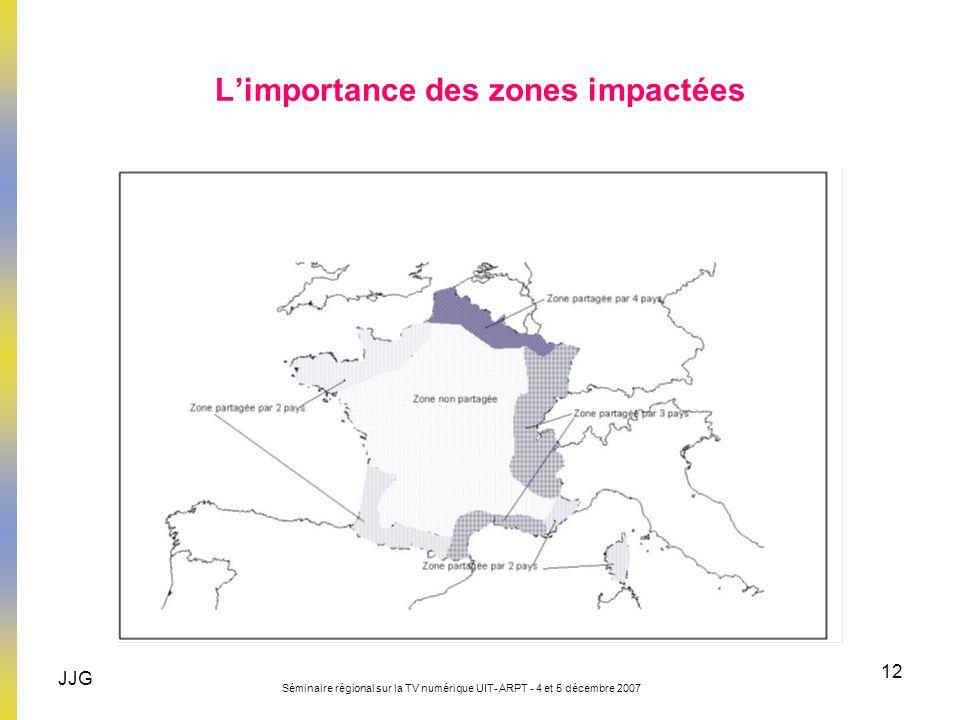 JJG Séminaire régional sur la TV numérique UIT- ARPT - 4 et 5 décembre 2007 12 Limportance des zones impactées